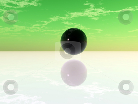 Black ball stock photo, Black ball in abstract landscape - 3d illustration by J?