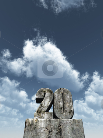 20 years stock photo, The number twenty - 20 -  in front of blue sky - 3d illustration by J?