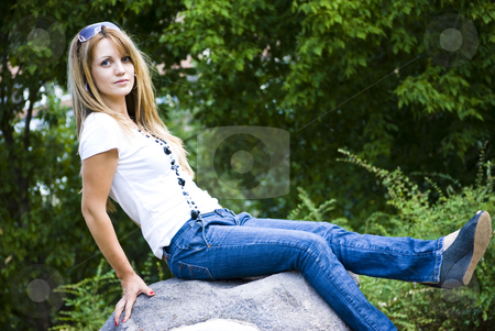 Beautiful young woman posing stock photo, Beautiful young model posing outdoor by Desislava Dimitrova