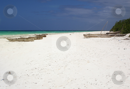 Old dhows on a beach on Zanzibar stock photo, Old wooden dhows on a white beach on Zanzibar, Tanzania by Peter Van veldhoven