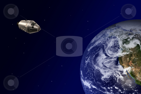 Earth-orbiting spacecraft stock photo, Earth-orbiting spacecraft from the space by Bernardo Varela