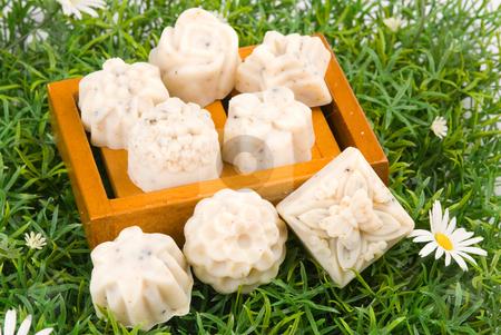 Handmade soap on green grass stock photo, Handmade soap on grass background by Lawren