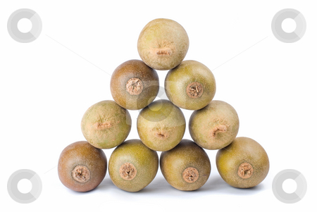 Triangle stack of kiwi fruit stock photo, Isolated triangle stack of kiwi fruit, with white background. by Lawren