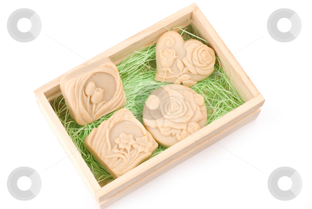 handmade soap in wooden box as gift stock photo, Handmade soap in box as gift by Lawren