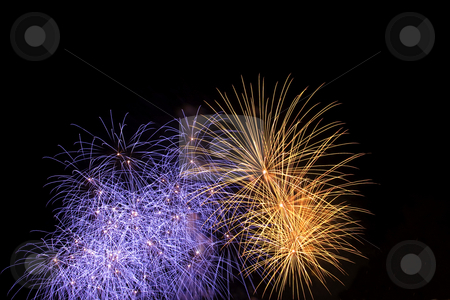 Firework stock photo, Firework display against black sky by Yann Poirier