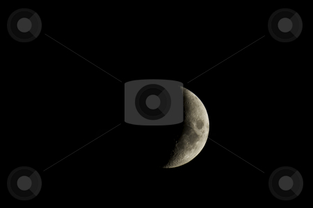 Waxing crescent moon closeup isolated against a black night sky stock photo, Waxing crescent moon closeup isolated against a black night sky by Stephen Goodwin