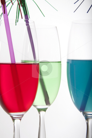 Colorful drinks stock photo, Colorful cocktails in red, green and blue with festive decoration by Daniel Kafer