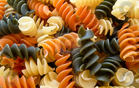 Spiral pasta stock photo, Tri colored spiral pasta by Monica Boorboor