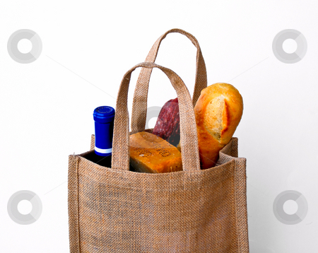 Market food stock photo, Burlap sack with cheese bread and wine by Monica Boorboor