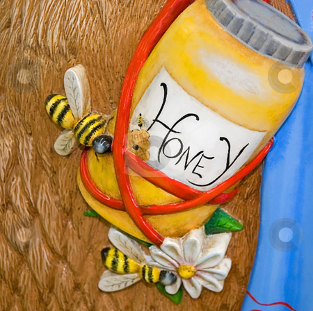 Painted Honey Jar stock photo, This photo is a couple of honeybees with a painted honey jar. by Valerie Garner