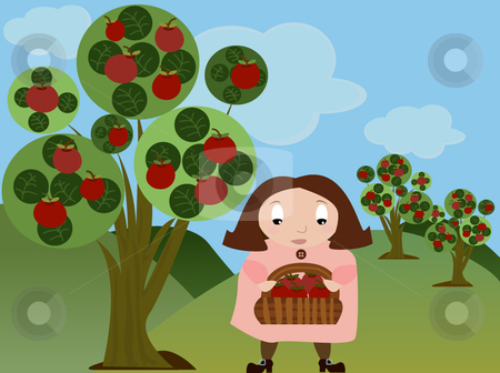 Girl in apple orchard stock vector clipart, Vector illustration of a cartoon style girl in apple orchard collecting apples by x7vector