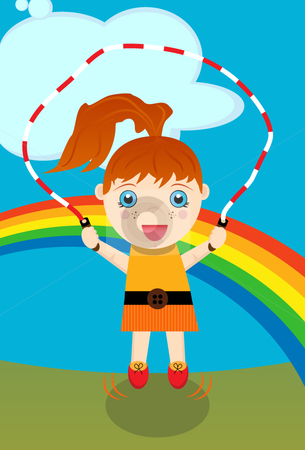 Girl Jumping Rope stock vector clipart, Young red-headed caucasian girl jumping rope with rainbow background. by x7vector