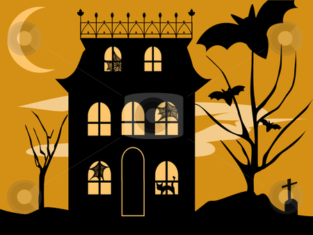 Halloween House stock vector clipart, Vector Halloween haunted house with spooky spiderwebs, black cat, bats and graveyard on a moody night. by Laure Adams