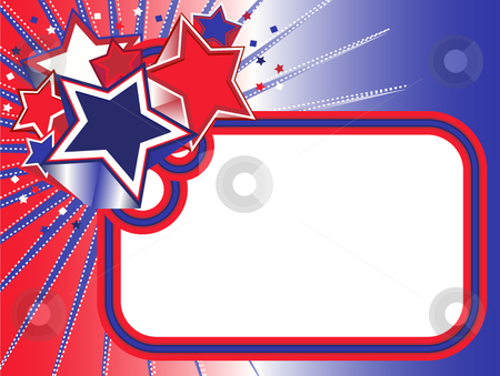 Red, White and Blue Stars Banner stock vector clipart, Red, White and Blue Stars Banner on gradient background by x7vector