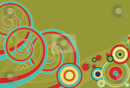 Retro Spirals and Circles stock vector clipart, Funky retro background of multi-colored spirals and colors. by x7vector