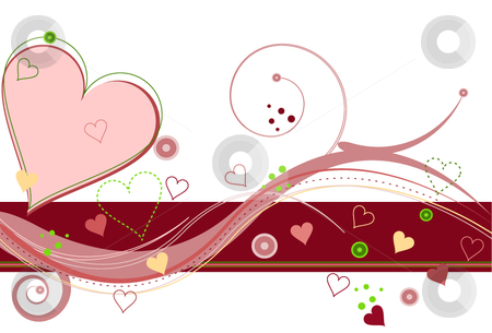 Valentine's Sweetheart stock vector clipart, Abstract Valentines holiday background filled with hearts and motion swirls on white backdrop. by Laure Adams