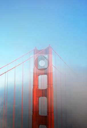 Detail of Golden Gate Bridge in Fog stock photo, Detail of the Golden Gate Bridge in San Francisco on a foggy afternoon. by Denis Radovanovic