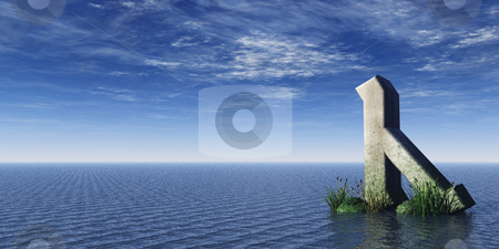 Rune rock stock photo, Viking rune rock at the ocean - 3d illustration by J?