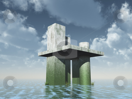 Futuristic architecture stock photo, Abstract futuristic building at the ocean under blue cloudy sky - 3d illustration by J?