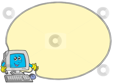 Computer round frame stock vector clipart, Computer round frame - vector illustration. by Klara Viskova
