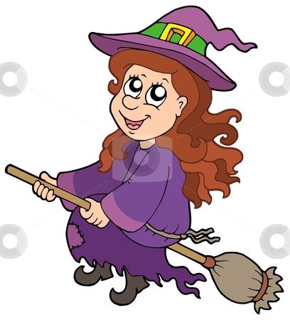 Cute witch flying on broom stock vector clipart, Cute witch flying on broom - vector illustration. by Klara Viskova