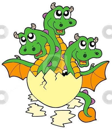Little three headed dragon in egg stock vector clipart, Little three headed dragon in egg - vector illustration. by Klara Viskova