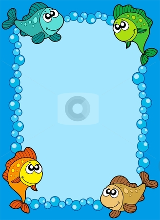 Cute frame with fishes and bubbles stock vector clipart, Cute frame with fishes and bubbles - vector illustration. by Klara Viskova