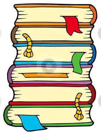 Pile of old books stock vector clipart, Pile of old books - vector illustration. by Klara Viskova