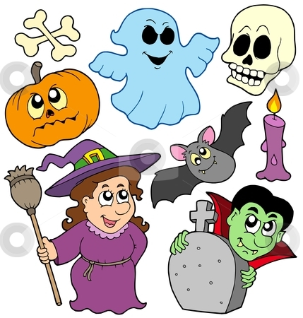 Halloween cartoons collection stock vector clipart, Halloween cartoons collection - vector illustration. by Klara Viskova