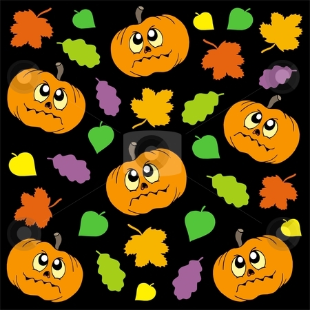 Halloween background 2 stock vector clipart, Halloween background 2 with pumpkins and leaves - vector illustration. by Klara Viskova