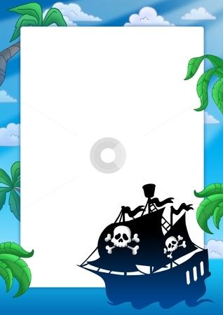 Frame with pirate ship silhouette stock photo, Frame with pirate ship silhouette - color illustration. by Klara Viskova