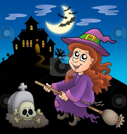 Cute witch on broom with mansion stock photo, Cute witch on broom with mansion - color illustration. by Klara Viskova