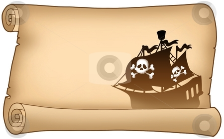 Parchment with pirate ship silhouette stock photo, Parchment with pirate ship silhouette - color illustration. by Klara Viskova