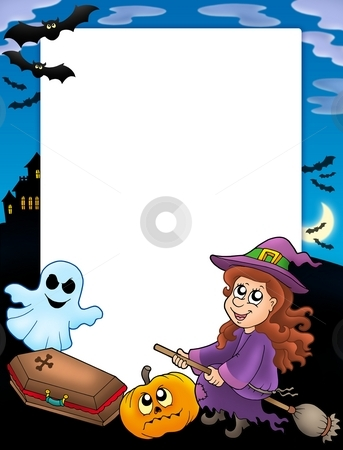 Halloween frame 3 stock photo, Halloween frame 3 with various objects - color illustration. by Klara Viskova