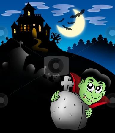 Vampire with haunted mansion stock photo, Vampire with haunted mansion - color illustration. by Klara Viskova