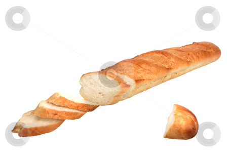 Slices of loaf of baguette. stock photo, Slices of loaf of baguette. Close-up. Isolated on white background. by Andrey Khritin