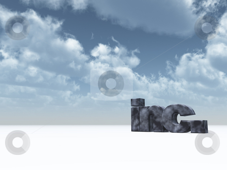 Inc. stock photo, The letters inc. in front of blue cloudy sky - 3d illustration by J?