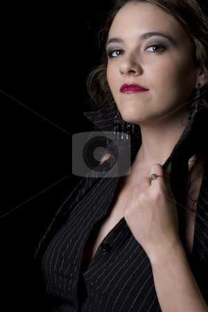 Sexy business women stock photo, Young and sexy business women opening her blouse by Yann Poirier
