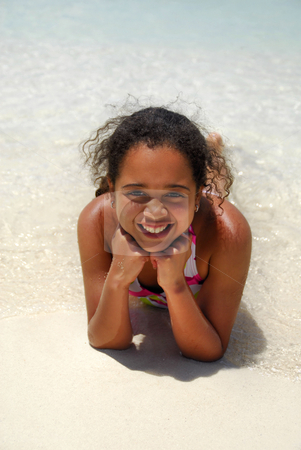 Happy at the beach stock photo, Cute girl with big smile on the beach by Monica Boorboor