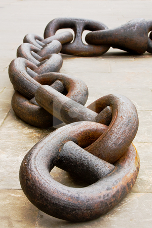 Anchor chain stock photo, Close up of a rusty anchor chain. by Gabriele Mesaglio