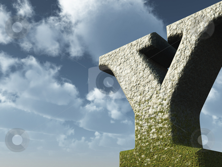 Big Y stock photo, Letter Y rock in front of blue sky - 3d illustration by J?