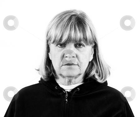 Depressed Senior Woman stock photo, Depressed senior woman black and white portrait by John Teeter
