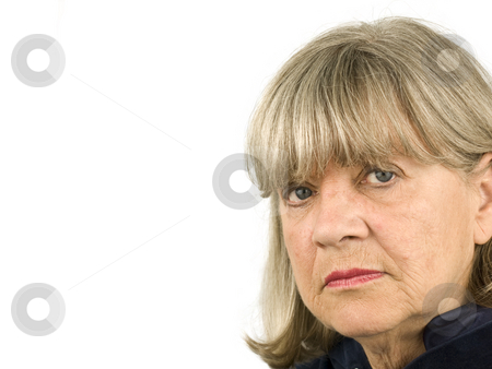 Senior woman looking stock photo, Senior woman looking on a white background by John Teeter