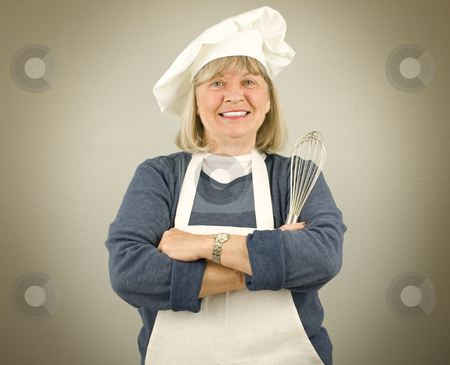 Happy Senior Chef stock photo, Happy Senior Chef on a textured background by John Teeter