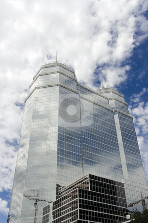 Glass Building stock photo, A large glass building with two white spires by Kevin Tietz