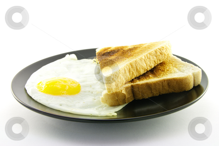 Cooked Breakfast Items on a Plate stock photo, Delicious cooked breakfast items with toast on a plate on a white background by Keith Wilson