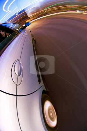 Downtown Driving stock photo, A car driving in the busy downtown streets, with taking a right turn by Corepics VOF
