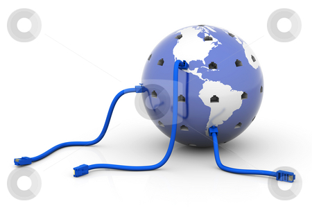 Connected World stock photo, Globe with network cables connected by Nuno Andre