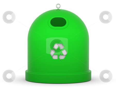 Glass Recycle Bin stock photo, Green recycle bin for glass in a white background by Nuno Andre