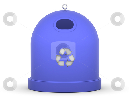 Paper Recycle Bin stock photo, Blue recycle bin for paper in a white background by Nuno Andre